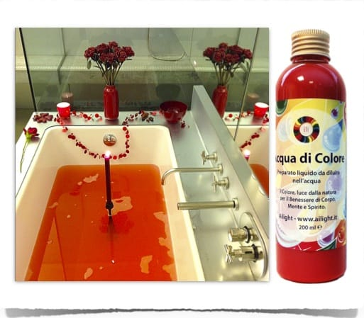 Coloured bath with red water
