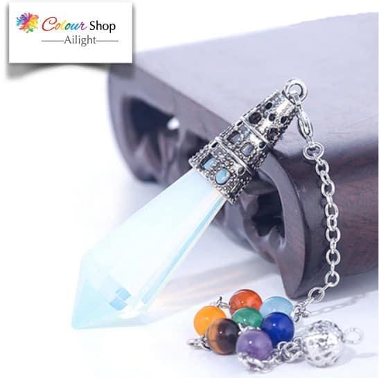 Pendolo con opalite e pietre chakra